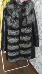 Кожаная куртка с мехом чернобурки